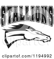 Clipart Of A Black And White Horse Head With STALLIONS Team Text Royalty Free Vector Illustration by Johnny Sajem