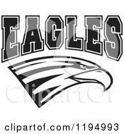 Clipart Of A Black And White Eagle Head With EAGLES Team Text Royalty Free Vector Illustration by Johnny Sajem