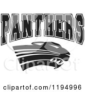 Clipart Of A Black And White Big Cat And PANTHERS Team Text Royalty Free Vector Illustration