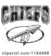 Clipart Of A Black And White Arrowhead With Feathers And CHIEFS Team Text Royalty Free Vector Illustration by Johnny Sajem