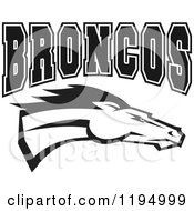 Clipart Of A Black And White Running Horse And BRONCOS Text Royalty Free Vector Illustration by Johnny Sajem