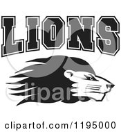 Clipart Of A Black And White Lion Head With LIONS Team Text Royalty Free Vector Illustration by Johnny Sajem