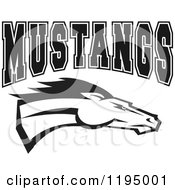 Clipart Of A Black And White Horse Head With MUSTANGS Team Text Royalty Free Vector Illustration by Johnny Sajem