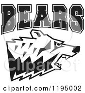 Clipart Of Black And White Bears Text Over A Growling Bear Head Royalty Free Vector Illustration by Johnny Sajem