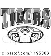Clipart Of Grayscale TIGERS Text Over An Eyes Oval Royalty Free Vector Illustration by Johnny Sajem