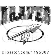 Clipart Of A Black And White Arrowhead With Feathers And BRAVES Team Text Royalty Free Vector Illustration