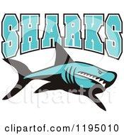 Blue Sharks Text Over A Shark