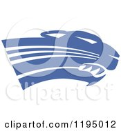 Clipart Of A Royal Blue Panther Cougar Or Jaguar Mascot Head Royalty Free Vector Illustration