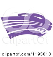Clipart Of A Purple Panther Cougar Or Jaguar Mascot Head Royalty Free Vector Illustration
