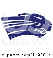 Clipart Of A Navy Blue Panther Cougar Or Jaguar Mascot Head Royalty Free Vector Illustration