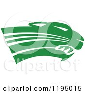 Clipart Of A Forest Green Panther Cougar Or Jaguar Mascot Head Royalty Free Vector Illustration