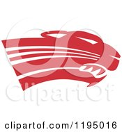 Clipart Of A Crimson Red Panther Cougar Or Jaguar Mascot Head Royalty Free Vector Illustration by Johnny Sajem