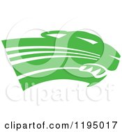 Clipart Of A Green Panther Cougar Or Jaguar Mascot Head Royalty Free Vector Illustration by Johnny Sajem