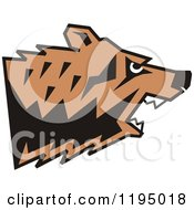 Clipart Of A Growling Bear Head In Profile Royalty Free Vector Illustration by Johnny Sajem