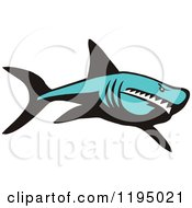 Clipart Of A Tough Blue Shark Royalty Free Vector Illustration