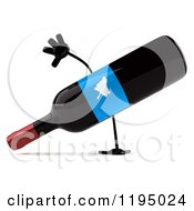 Clipart Of A 3d Cartwheeling Wine Bottle Mascot With A Blue Grape Label Royalty Free CGI Illustration