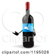 Clipart Of A 3d Presenting Wine Bottle Mascot With A Blue Grape Label Royalty Free CGI Illustration
