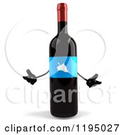 Clipart Of A 3d Shrugging Wine Bottle Mascot With A Blue Grape Label Royalty Free CGI Illustration