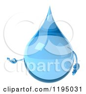 Clipart Of A 3d Water Droplet Presenting Royalty Free CGI Illustration