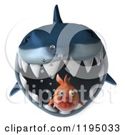 Clipart Of A 3d Shark Chasing A Fat Fish Royalty Free CGI Illustration by Julos