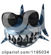 Clipart Of A 3d Shark Wearing Sunglasses Royalty Free CGI Illustration