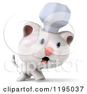 Clipart Of A 3d White Kitten Chef Walking Royalty Free CGI Illustration