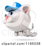 Clipart Of A 3d White Kitten Wearing A Blue Cap And Leaping Royalty Free CGI Illustration
