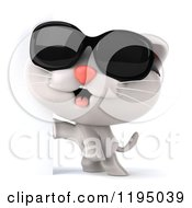 Clipart Of A 3d White Kitten Wearing Sunglasses By A Sign Royalty Free CGI Illustration