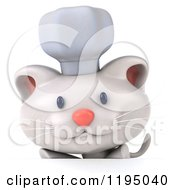 Clipart Of A 3d White Kitten Chef Over A Sign Royalty Free CGI Illustration