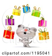 Clipart Of A 3d White Kitten Juggling Presents Royalty Free CGI Illustration