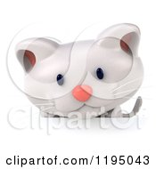 Clipart Of A 3d White Kitten Looking Down At A Sign Royalty Free CGI Illustration