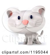 Clipart Of A 3d White Kitten By A Sign Royalty Free CGI Illustration