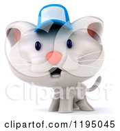 Clipart Of A 3d White Kitten Wearing A Blue Cap Royalty Free CGI Illustration