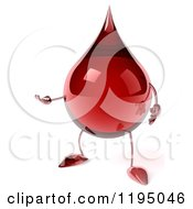 Clipart Of A 3d Hot Water Or Blood Drop Mascot Presenting Royalty Free CGI Illustration