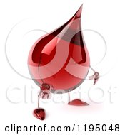 Clipart Of A 3d Hot Water Or Blood Drop Mascot Pouting 2 Royalty Free CGI Illustration