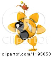 Clipart Of A 3d Sun Mascot Wearing Shades And Cartwheeling With Iced Tea Royalty Free CGI Illustration