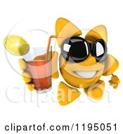 3d Sun Mascot Wearing Shades And Holding Up Iced Tea
