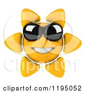 Clipart Of A 3d Sun Mascot Wearing Shades And Smiling Royalty Free CGI Illustration