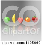 Clipart Of 3d Geometric Fruit Floating On Gray Royalty Free CGI Illustration by Julos