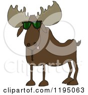 Cartoon Of A Cool Moose Wearing Sunglasses Royalty Free Vector Clipart