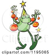 Cartoon Of A Happy Christmas Frog With Ornaments Royalty Free Vector Clipart