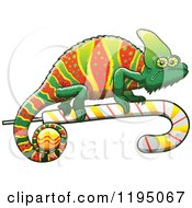 Cartoon Of A Christmas Chameleon Lizard On A Candy Cane Royalty Free Vector Clipart by Zooco