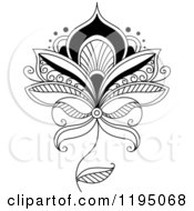 Clipart Of A Black And White Henna Flower Royalty Free Vector Illustration