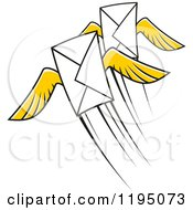 Clipart Of Envelopes With Yellow Wings Royalty Free Vector Illustration