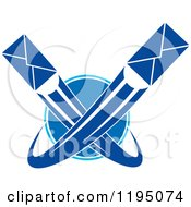 Clipart Of Blue Envelopes Shooting Around A Globe Royalty Free Vector Illustration
