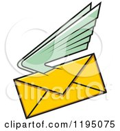 Clipart Of A Yellow Envelope With Green Wings Royalty Free Vector Illustration