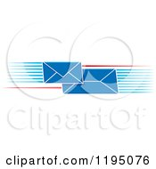 Clipart Of Blue Envelopes With Speed Lines Royalty Free Vector Illustration