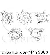 Clipart Of Black And White Comic Bursts Explosions Or Poofs 3 Royalty Free Vector Illustration