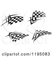 Clipart Of Black And White Checkered Tribal Racing Flags 2 Royalty Free Vector Illustration
