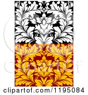 Clipart Of Black And White And Red And Yellow Seamless Damask Patterns Royalty Free Vector Illustration